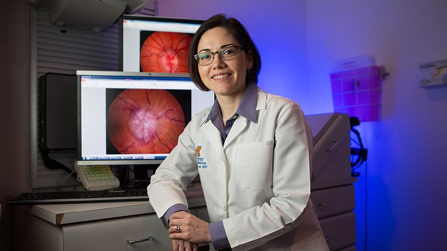 Dr. Lindsay DeLott in an exam room