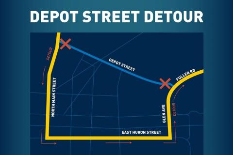 Map showing detour for M-14/US-23 traffic: South on Main St. to E. Huron St. then east on Huron St. and north on Glen Ave./Fuller Rd to the medical center.