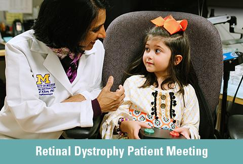 Naheed Khan, PhD, with a young female patient. Text: Retinal Dystrophy Patient Meeting