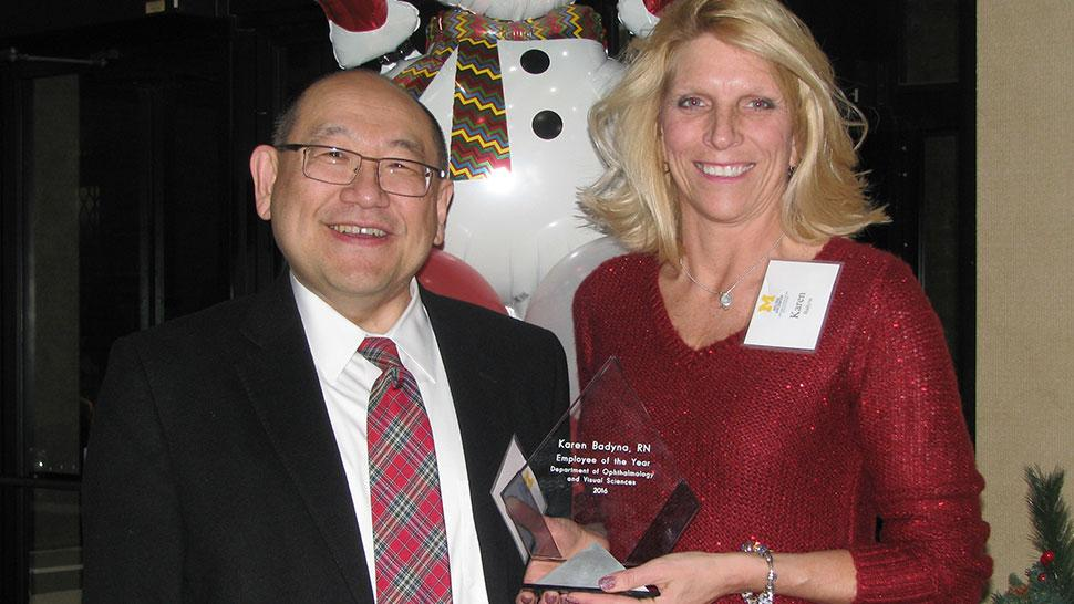 Dr. Paul Lee with Employee of the Year Karen Badyna, R.N.